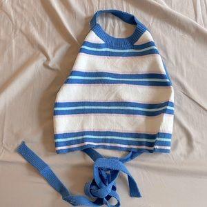 Knit Striped Halter Tie Back Top